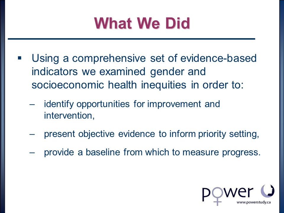 What We Did  Using a comprehensive set of evidence-based indicators we examined gender and socioeconomic health inequities in order to: –identify opportunities for improvement and intervention, –present objective evidence to inform priority setting, –provide a baseline from which to measure progress.