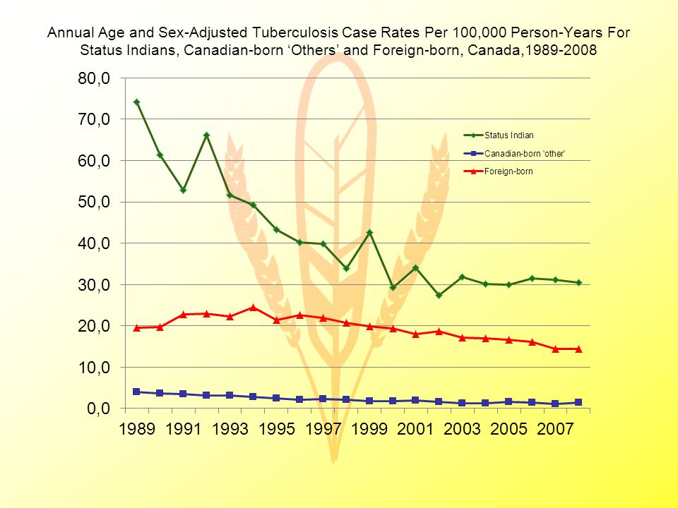 Annual Age and Sex-Adjusted Tuberculosis Case Rates Per 100,000 Person-Years For Status Indians, Canadian-born 'Others' and Foreign-born, Canada,1989-2008