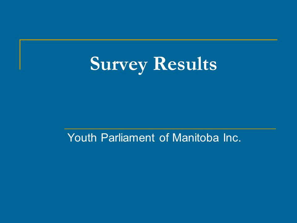 Survey Results Youth Parliament of Manitoba Inc.
