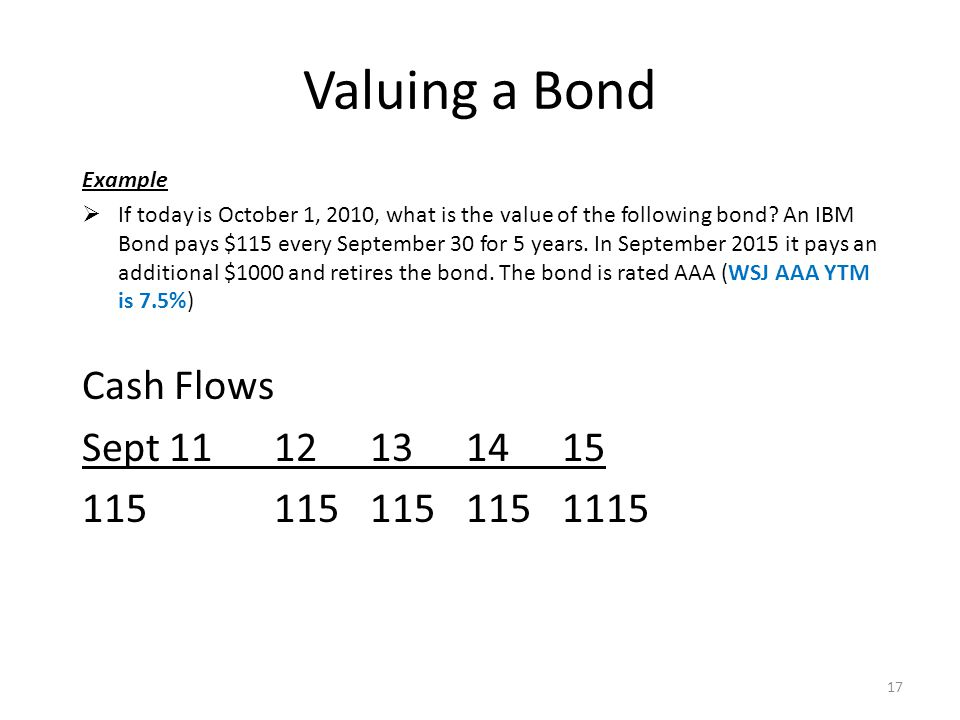 Valuing a Bond Example  If today is October 1, 2010, what is the value of the following bond.