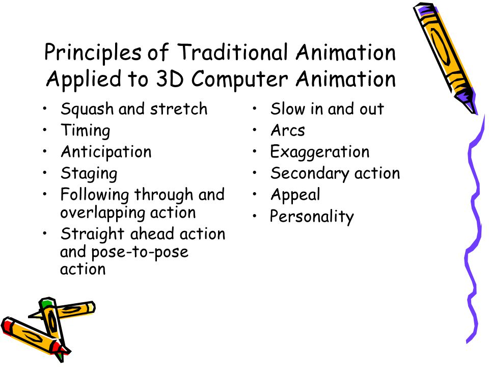Principles of Traditional Animation Applied to 3D Computer Animation Squash and stretch Timing Anticipation Staging Following through and overlapping action Straight ahead action and pose-to-pose action Slow in and out Arcs Exaggeration Secondary action Appeal Personality