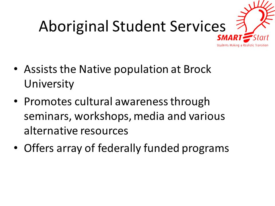 Aboriginal Student Services Assists the Native population at Brock University Promotes cultural awareness through seminars, workshops, media and various alternative resources Offers array of federally funded programs