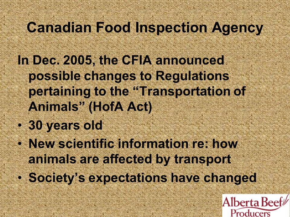 Canadian Food Inspection Agency In Dec.