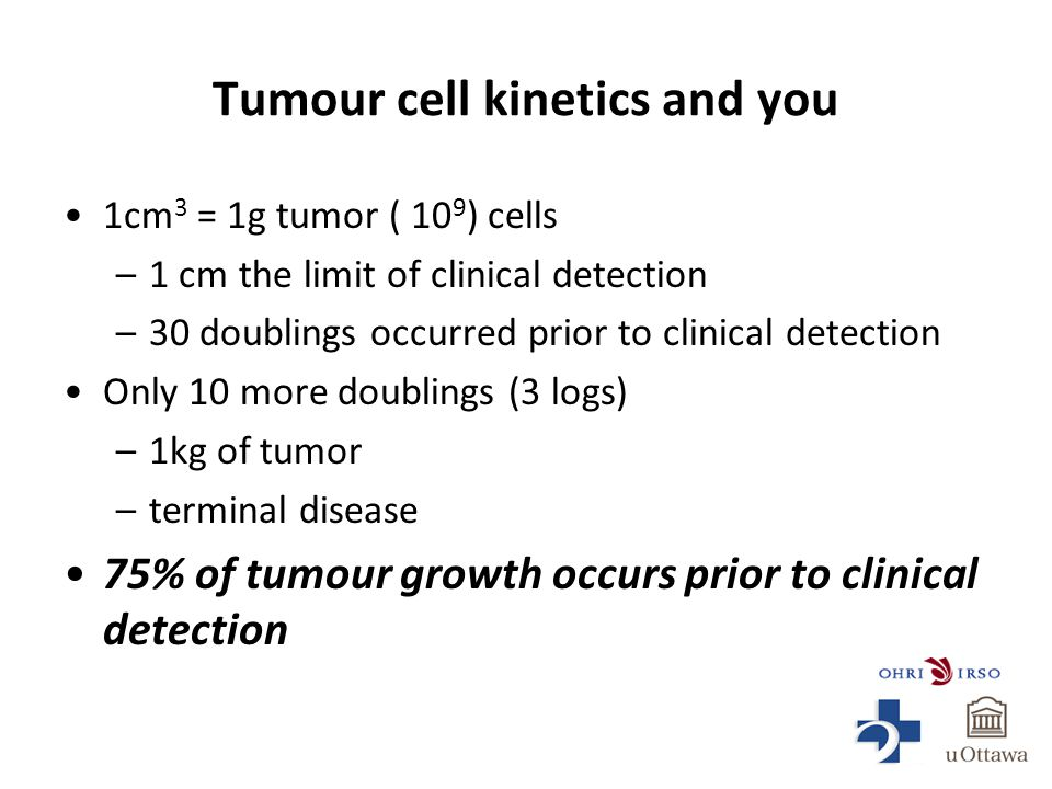 Tumour cell kinetics and you 1cm 3 = 1g tumor ( 10 9 ) cells –1 cm the limit of clinical detection –30 doublings occurred prior to clinical detection Only 10 more doublings (3 logs) –1kg of tumor –terminal disease 75% of tumour growth occurs prior to clinical detection