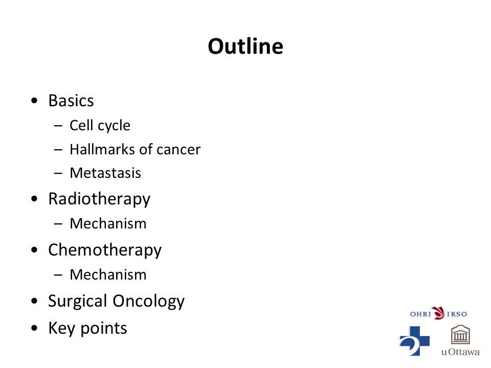 Outline Basics –Cell cycle –Hallmarks of cancer –Metastasis Radiotherapy –Mechanism Chemotherapy –Mechanism Surgical Oncology Key points