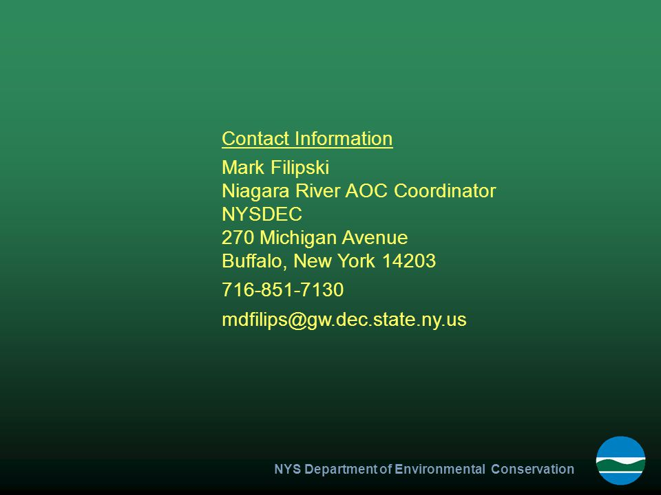 NYS Department of Environmental Conservation Contact Information Mark Filipski Niagara River AOC Coordinator NYSDEC 270 Michigan Avenue Buffalo, New York 14203 716-851-7130 mdfilips@gw.dec.state.ny.us