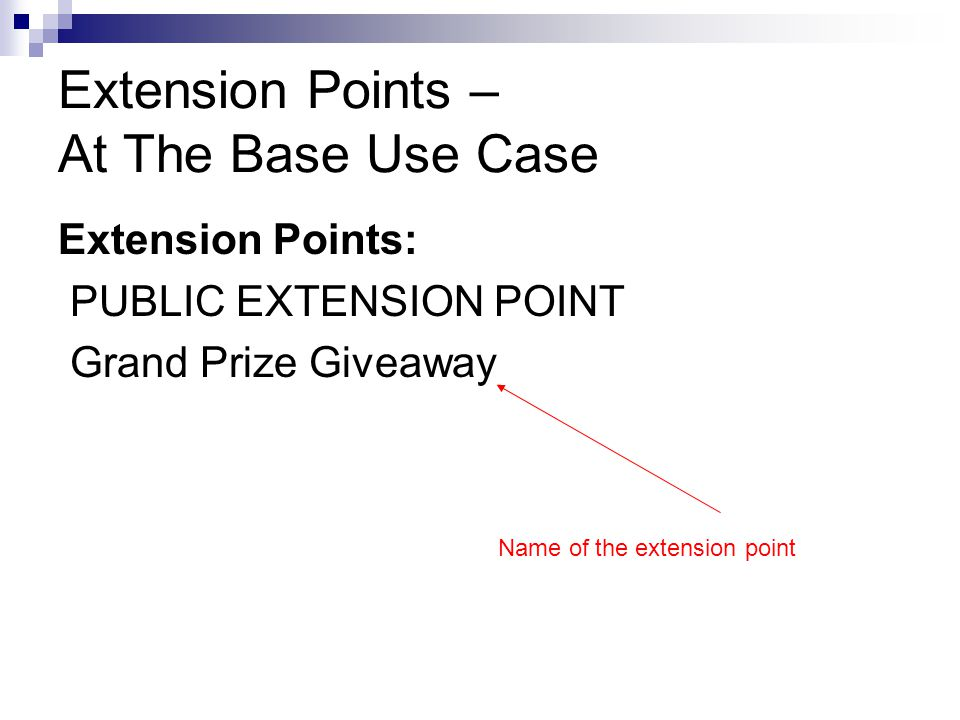 Extension Points – At The Base Use Case Extension Points: PUBLIC EXTENSION POINT Grand Prize Giveaway Name of the extension point