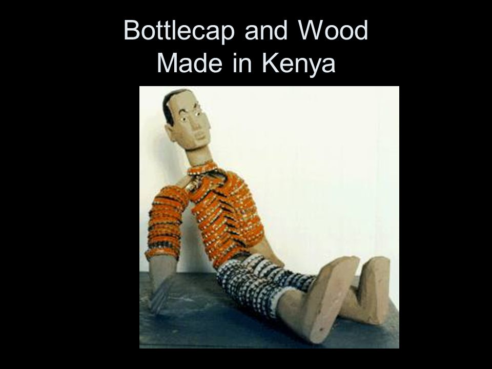 Bottlecap and Wood Made in Kenya