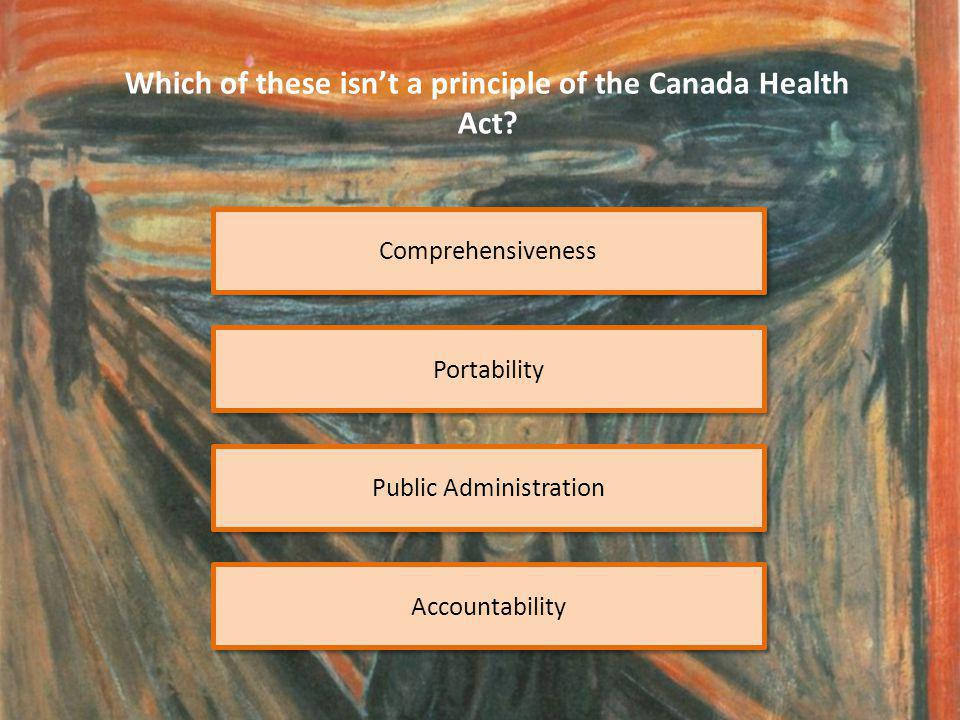 Comprehensiveness Which of these isn't a principle of the Canada Health Act.