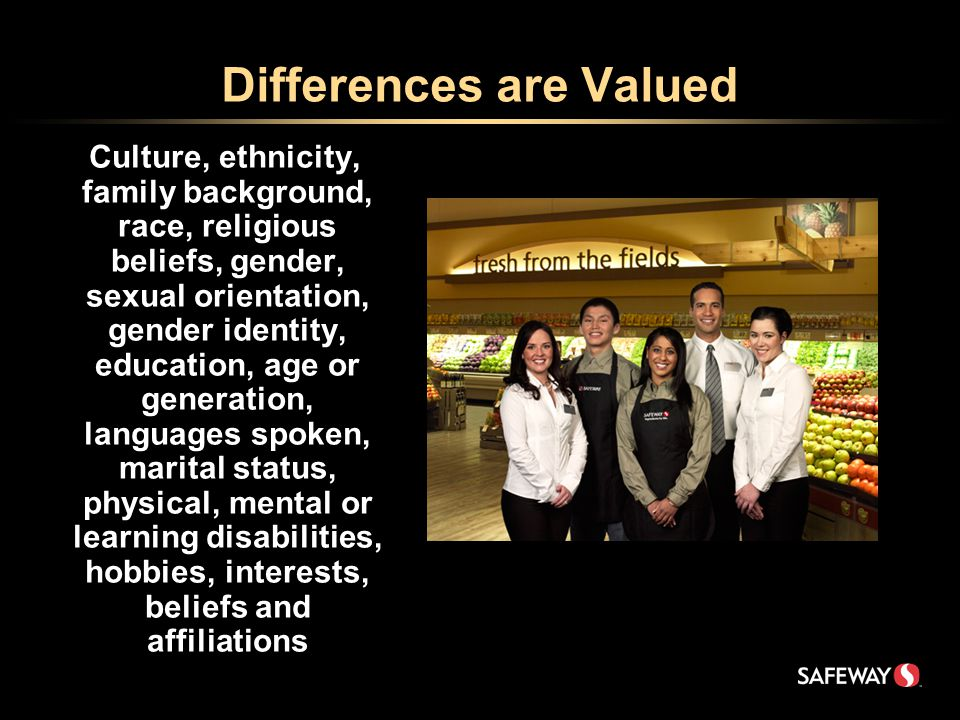 Differences are Valued Culture, ethnicity, family background, race, religious beliefs, gender, sexual orientation, gender identity, education, age or generation, languages spoken, marital status, physical, mental or learning disabilities, hobbies, interests, beliefs and affiliations