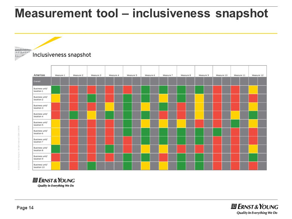 Page 14 Measurement tool – inclusiveness snapshot