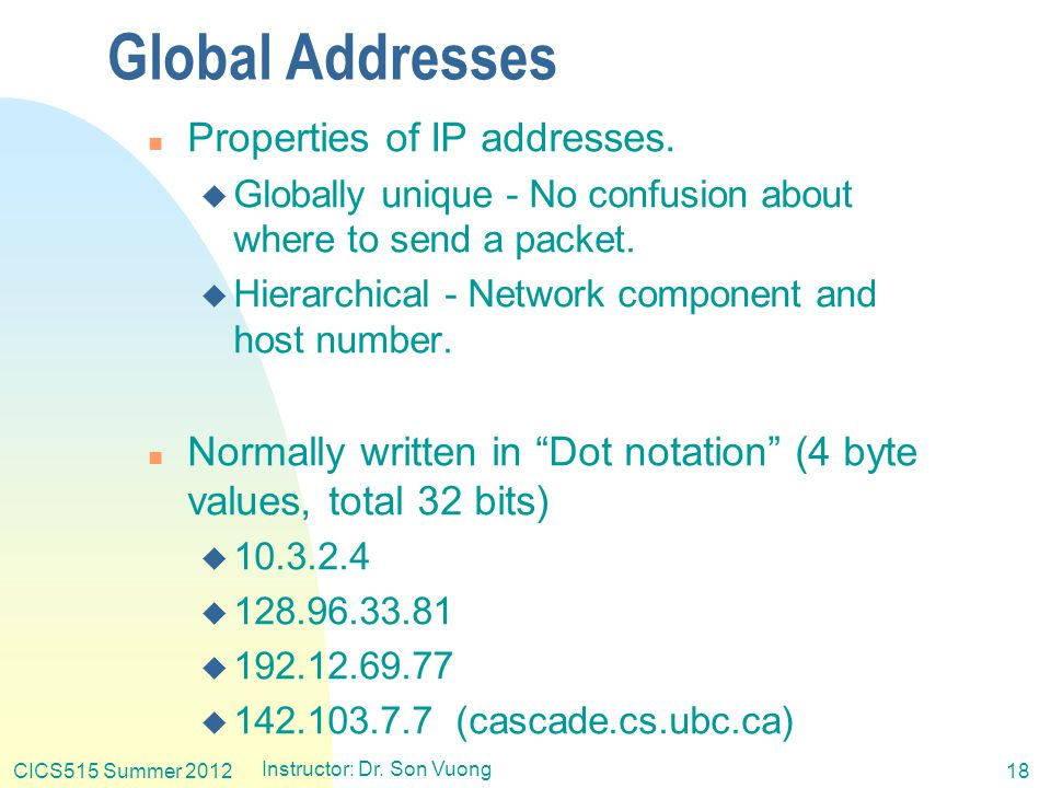 CICS515 Summer 2012 Instructor: Dr. Son Vuong 18 Global Addresses n Properties of IP addresses.