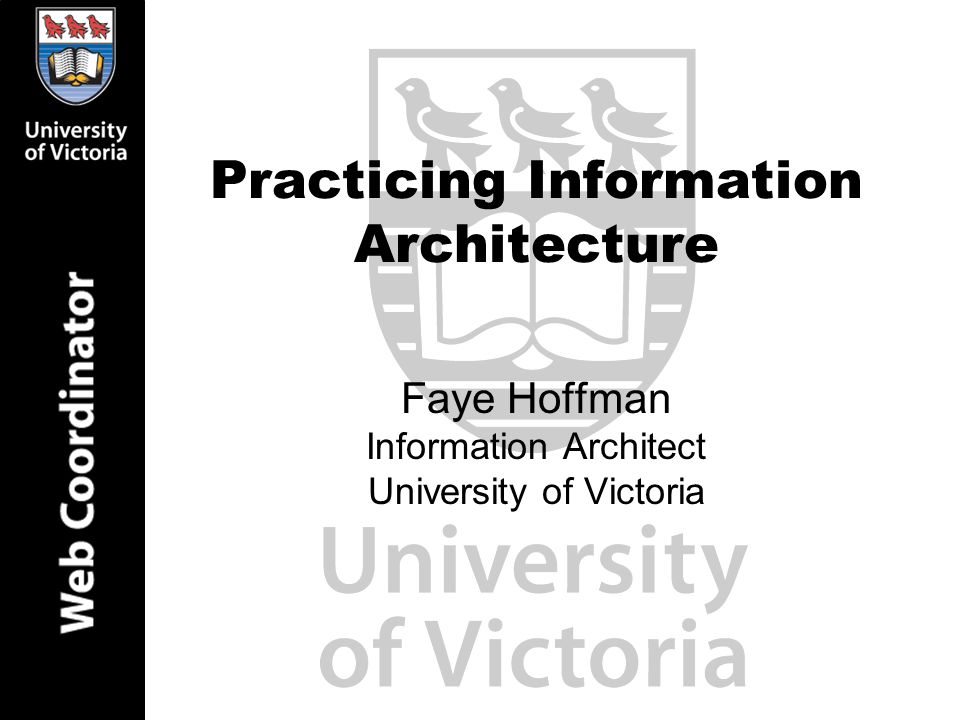 Practicing Information Architecture Faye Hoffman Information Architect University of Victoria