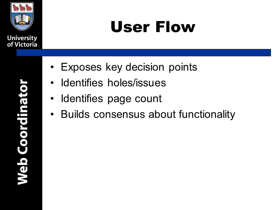 User Flow Exposes key decision points Identifies holes/issues Identifies page count Builds consensus about functionality