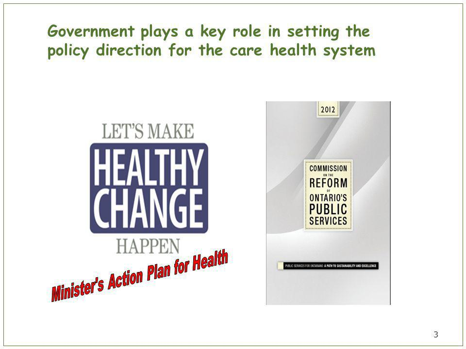 3 Government plays a key role in setting the policy direction for the care health system