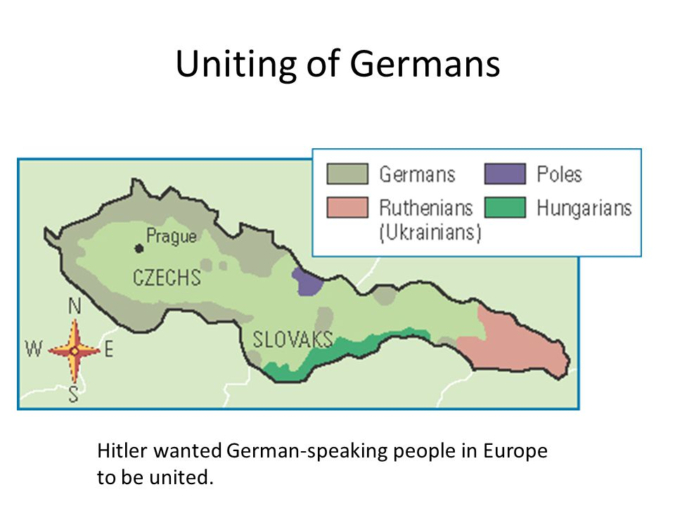 Uniting of Germans Hitler wanted German-speaking people in Europe to be united.
