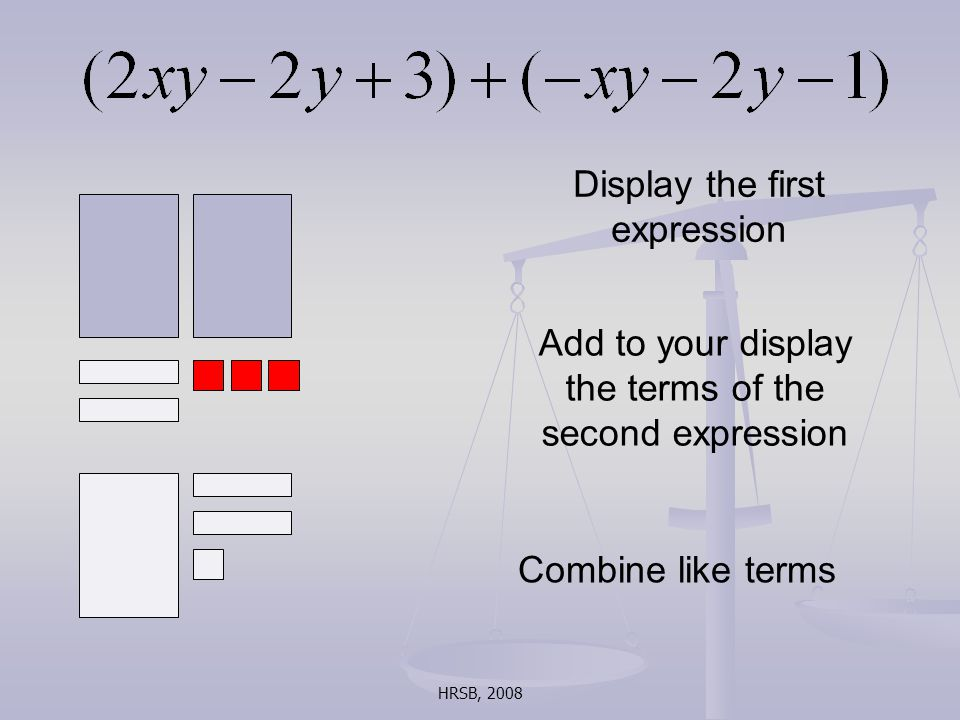 HRSB, 2008 Display the first expression Add to your display the terms of the second expression Combine like terms