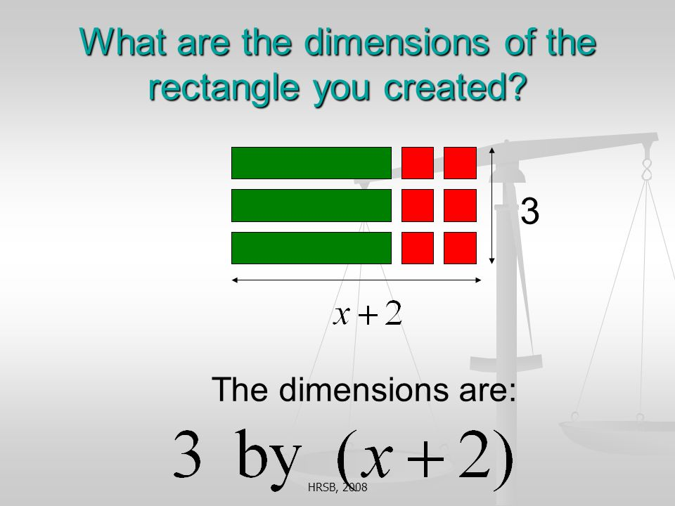 HRSB, 2008 What are the dimensions of the rectangle you created The dimensions are: 3