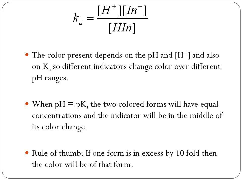 The color present depends on the pH and [H + ] and also on K a so different indicators change color over different pH ranges.