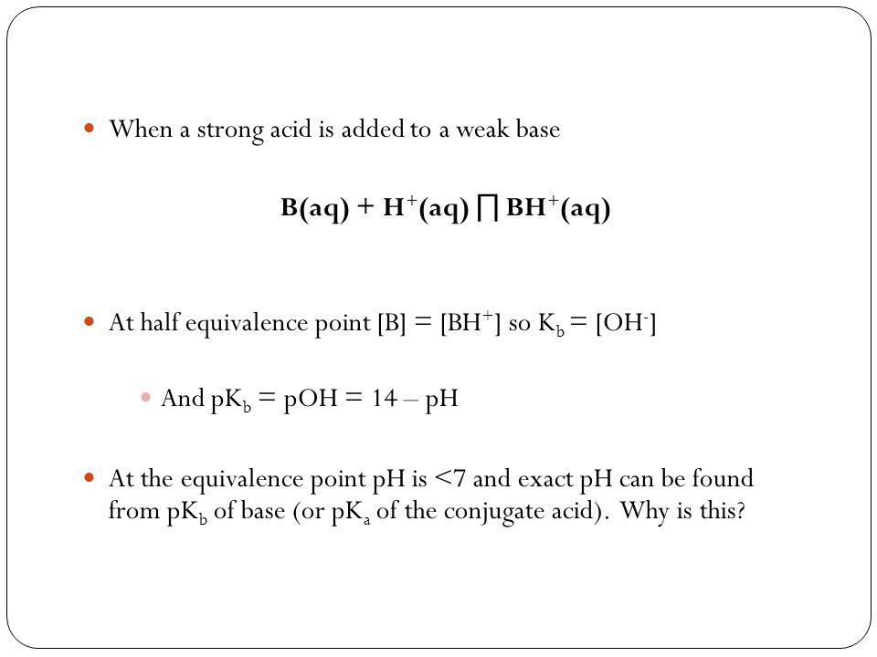 When a strong acid is added to a weak base B(aq) + H + (aq) ∏ BH + (aq) At half equivalence point [B] = [BH + ] so K b = [OH - ] And pK b = pOH = 14 – pH At the equivalence point pH is <7 and exact pH can be found from pK b of base (or pK a of the conjugate acid).