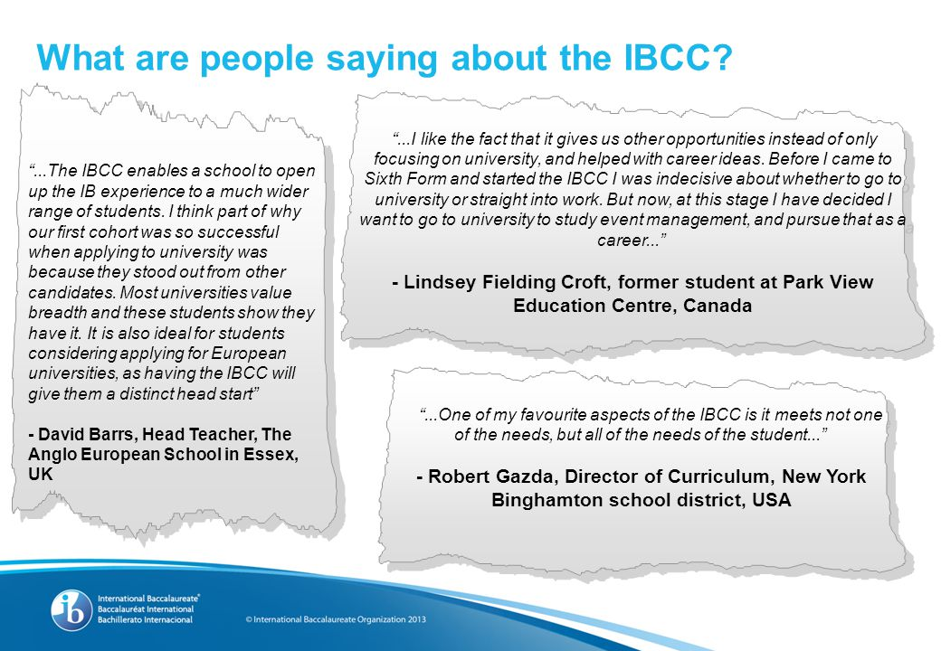 What are people saying about the IBCC.