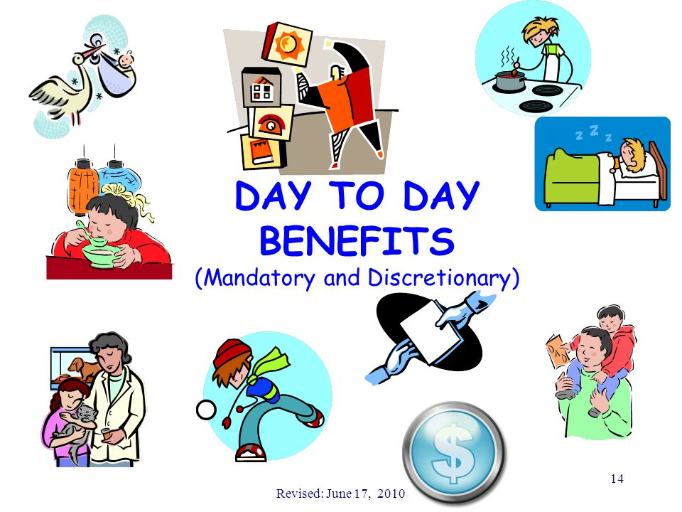 Revised: June 17, 2010 14 DAY TO DAY BENEFITS (Mandatory and Discretionary)