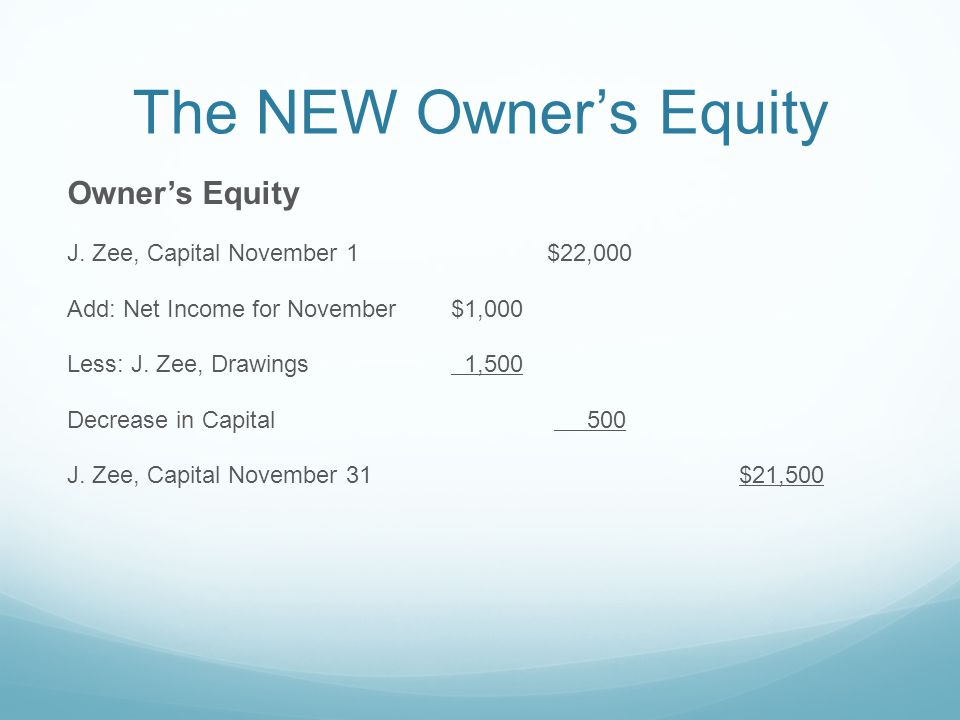 The NEW Owner's Equity Owner's Equity J.