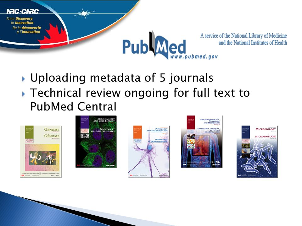  Uploading metadata of 5 journals  Technical review ongoing for full text to PubMed Central
