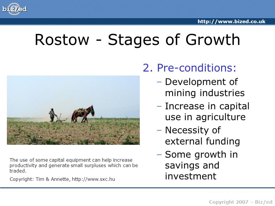http://www.bized.co.uk Copyright 2007 – Biz/ed Rostow - Stages of Growth 2.