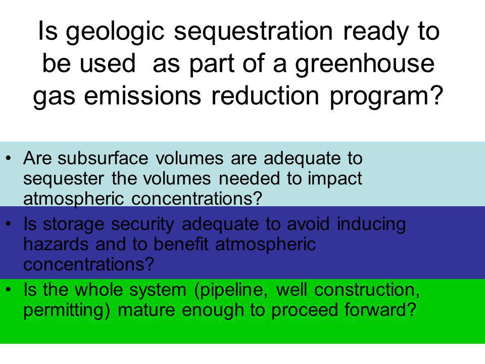 Is geologic sequestration ready to be used as part of a greenhouse gas emissions reduction program.