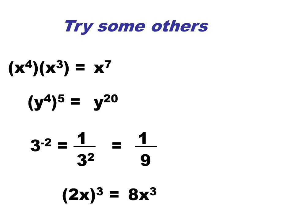 3 -2 = 1 3232 = 1 9 (2x) 3 =8x 3 (x 4 )(x 3 ) =x7x7 (y 4 ) 5 =y 20 Try some others