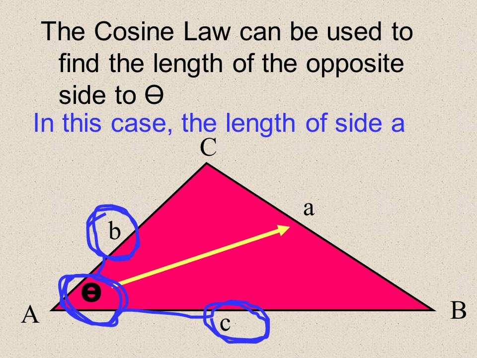 A B O C b c a If b,c and O are all known, then O is called a Contained Angle (the blue line also forms a c , [kind of] which is how I remember to use the c osine law in this case..)
