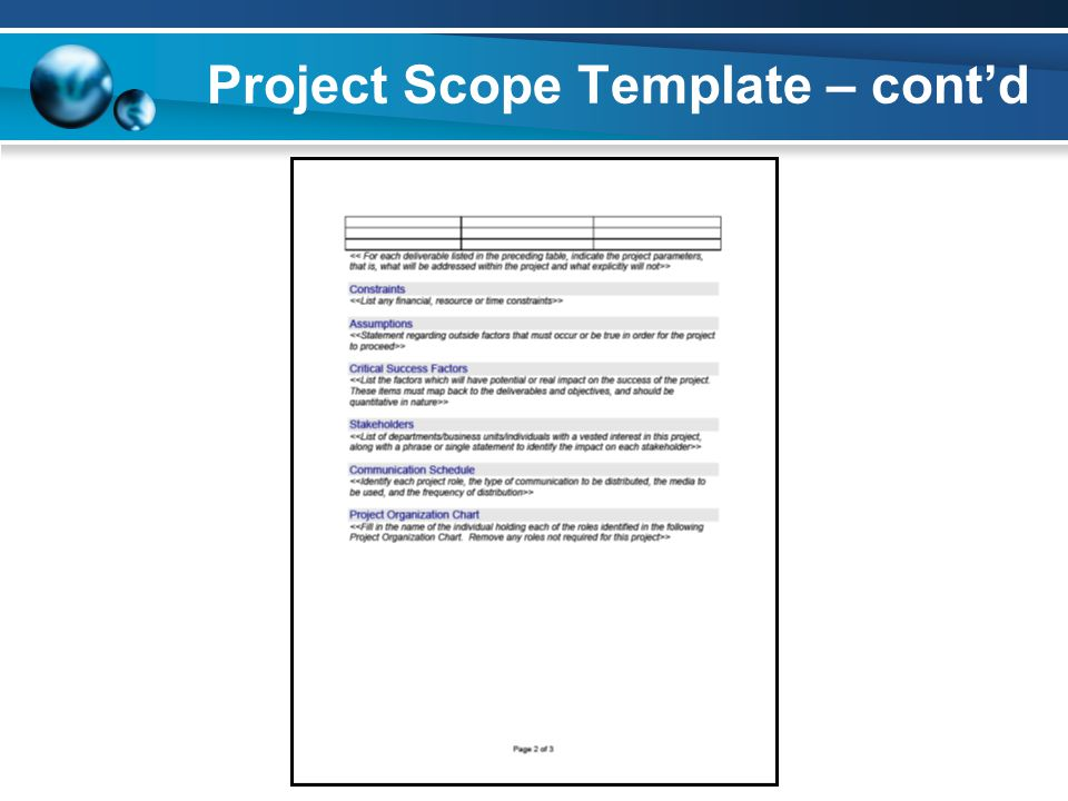 Project Scope Template – cont'd