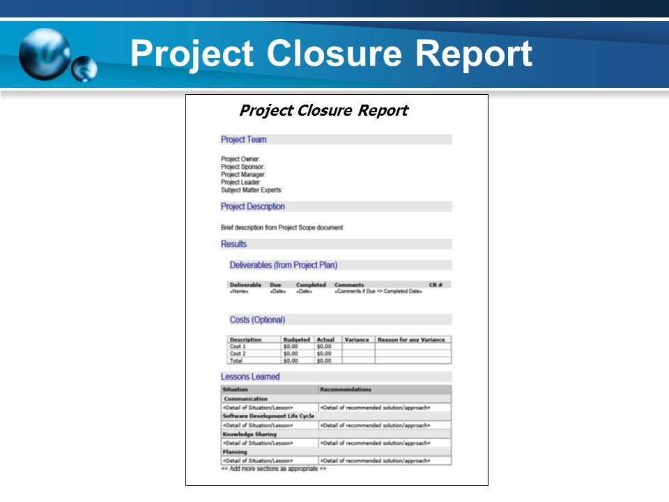 Project Closure Report
