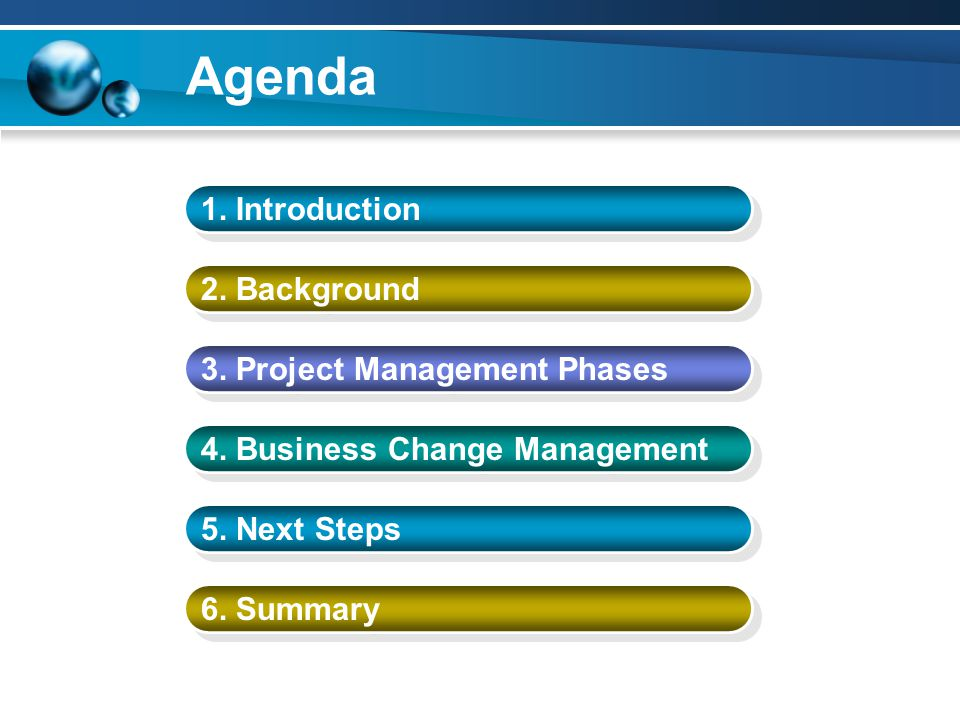 Agenda 1. Introduction 2. Background 3. Project Management Phases 4.