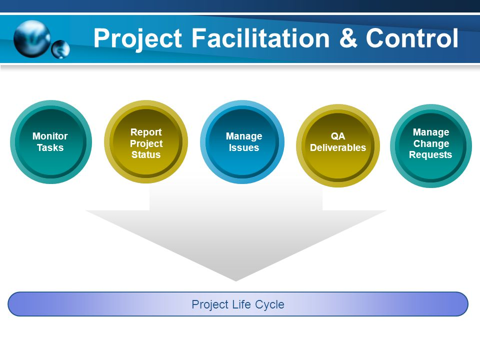 Project Facilitation & Control Project Life Cycle Report Project Status Manage Issues Manage Change Requests QA Deliverables Monitor Tasks