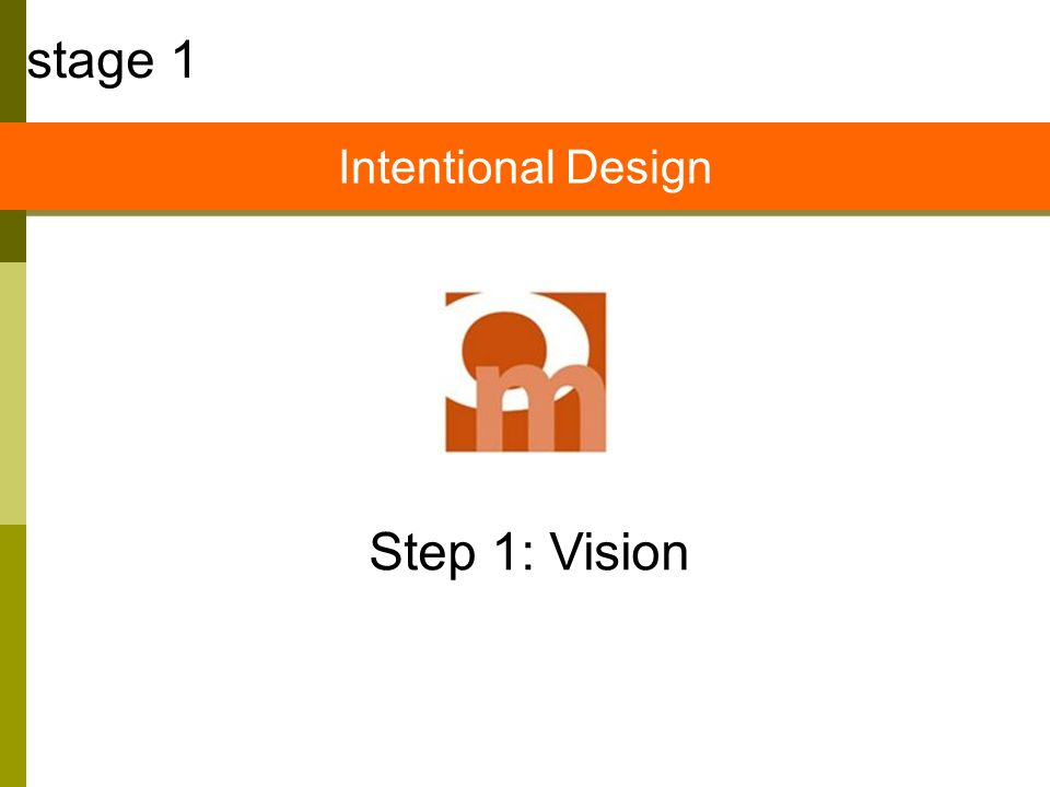 Step 1: Vision stage 1 Intentional Design