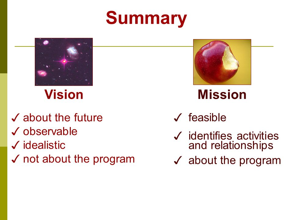 Summary ✓ about the future ✓ observable ✓ idealistic ✓ not about the program ✓ feasible ✓ identifies activities and relationships ✓ about the program VisionMission