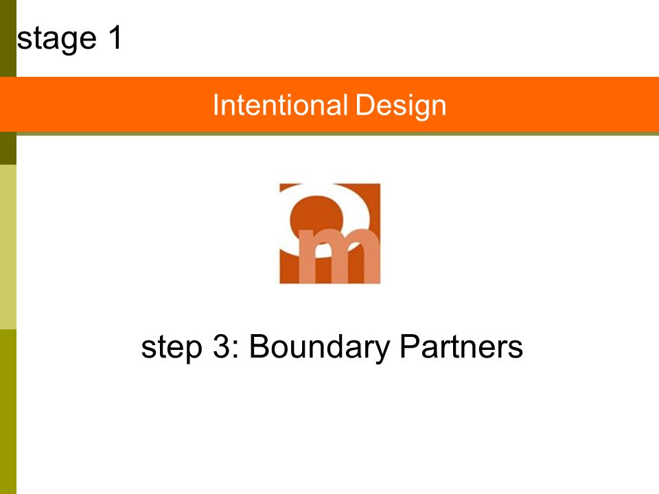step 3: Boundary Partners stage 1 Intentional Design