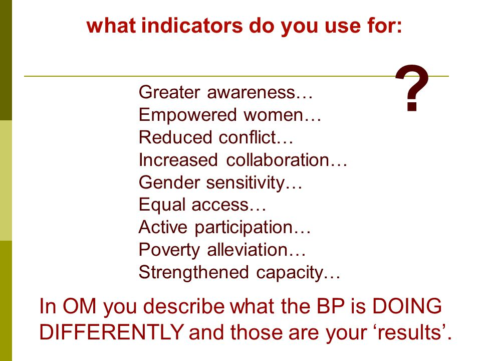 what indicators do you use for: Greater awareness… Empowered women… Reduced conflict… Increased collaboration… Gender sensitivity… Equal access… Active participation… Poverty alleviation… Strengthened capacity… In OM you describe what the BP is DOING DIFFERENTLY and those are your 'results'.