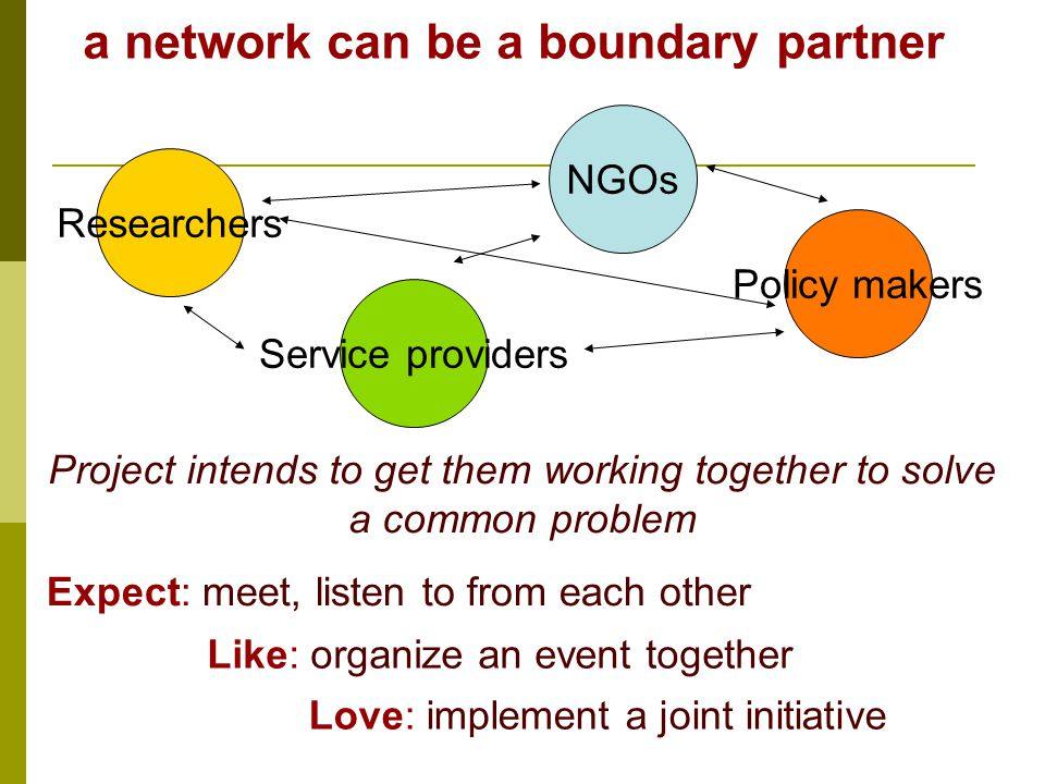 a network can be a boundary partner ResearchersService providers NGOsPolicy makers Project intends to get them working together to solve a common problem Expect: meet, listen to from each other Like: organize an event together Love: implement a joint initiative