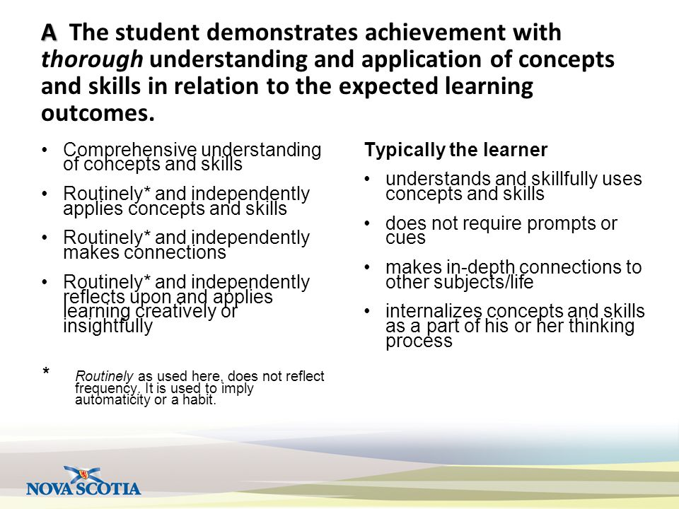 A A The student demonstrates achievement with thorough understanding and application of concepts and skills in relation to the expected learning outcomes.