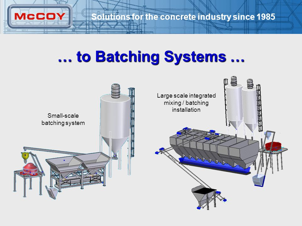 Solutions for the concrete industry since 1985 4 Large scale integrated mixing / batching installation Small-scale batching system … to Batching Systems …