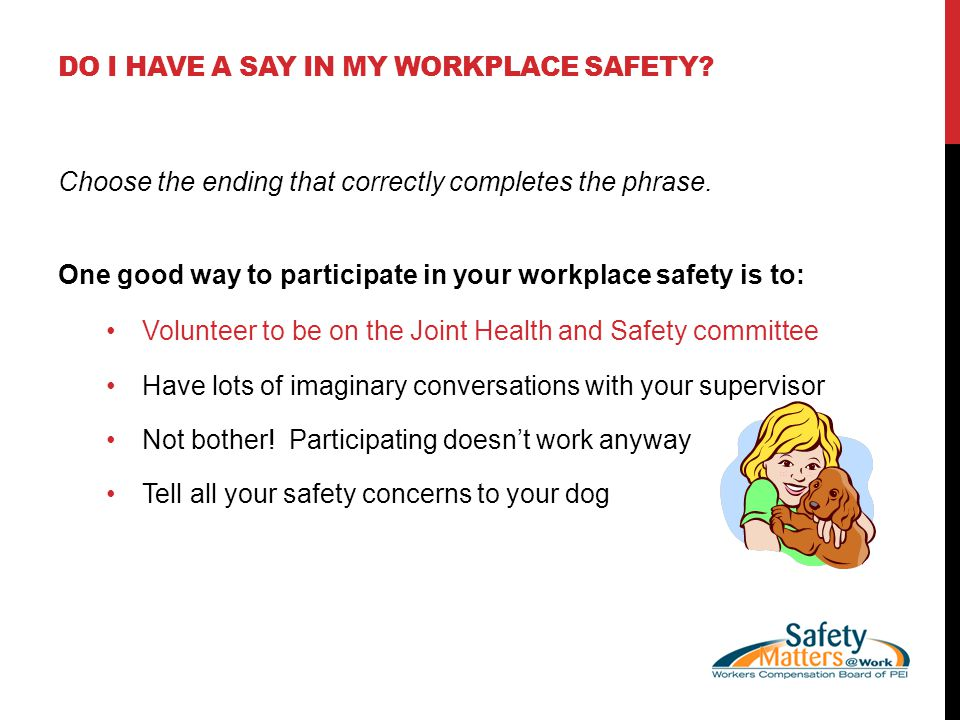DO I HAVE A SAY IN MY WORKPLACE SAFETY. Choose the ending that correctly completes the phrase.