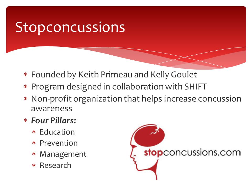  Founded by Keith Primeau and Kelly Goulet  Program designed in collaboration with SHIFT  Non-profit organization that helps increase concussion awareness  Four Pillars:  Education  Prevention  Management  Research Stopconcussions