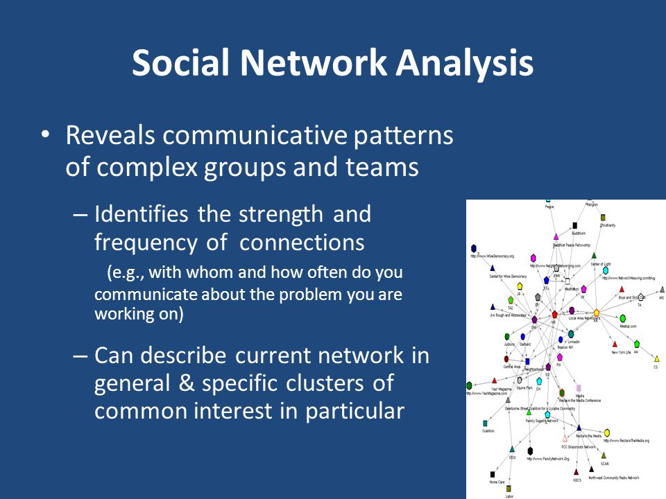 Social Network Analysis Reveals communicative patterns of complex groups and teams – Identifies the strength and frequency of connections (e.g., with whom and how often do you communicate about the problem you are working on) – Can describe current network in general & specific clusters of common interest in particular
