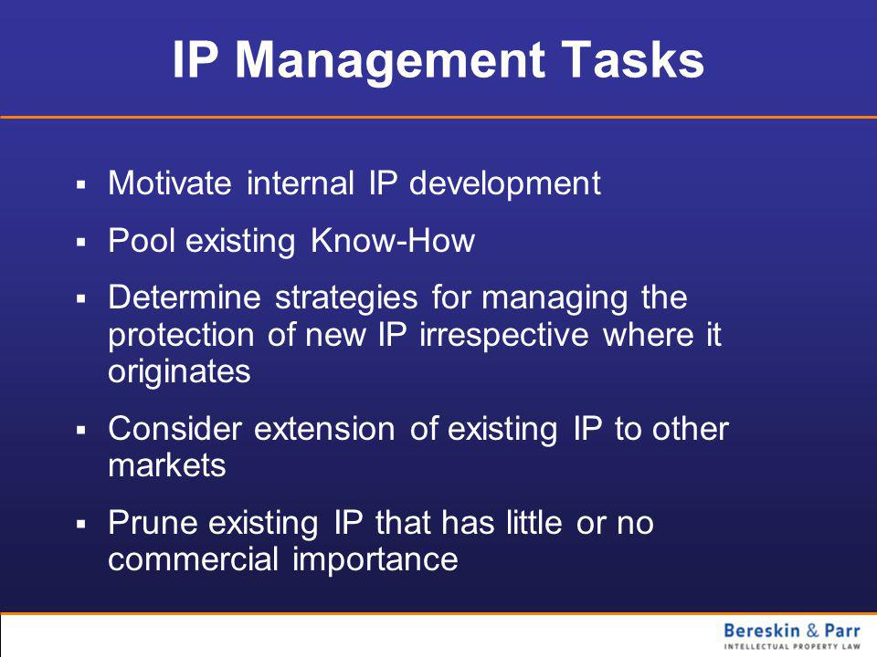IP Management Tasks  Motivate internal IP development  Pool existing Know-How  Determine strategies for managing the protection of new IP irrespective where it originates  Consider extension of existing IP to other markets  Prune existing IP that has little or no commercial importance