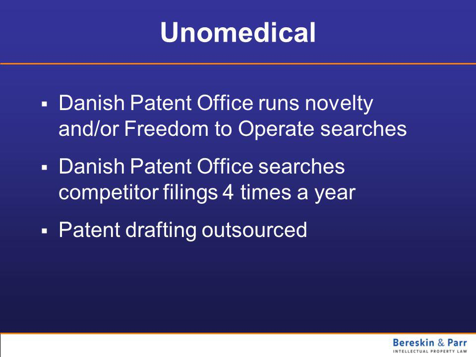 Unomedical  Danish Patent Office runs novelty and/or Freedom to Operate searches  Danish Patent Office searches competitor filings 4 times a year  Patent drafting outsourced