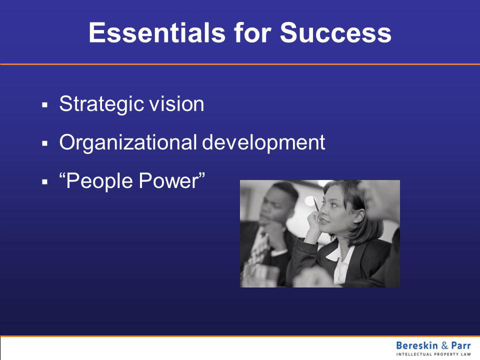 Essentials for Success  Strategic vision  Organizational development  People Power