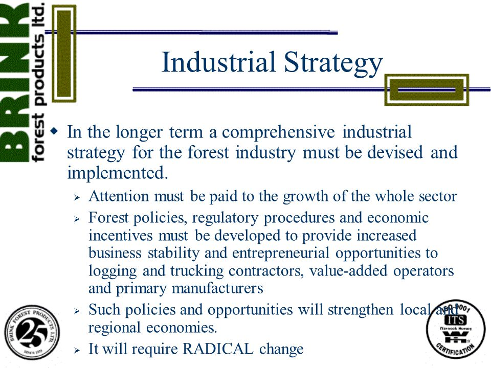 Industrial Strategy  In the longer term a comprehensive industrial strategy for the forest industry must be devised and implemented.